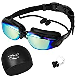 Swim Goggles with Cap, HiFives 4 in 1 Adult Swimming Goggles with Ear Plugs, swim Cap and Nose Clip in Case, No Leaking Anti Fog UV Protection, Black (Mirrored Lenses)