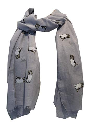 Pamper Yourself Now Grau-Collie Hund, Langer Schal mit ausgefransten Rand - Grey Collie Dog, Long Scarf with Frayed Edge
