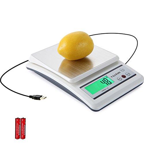 Yizish Digitale Küchenwaage (USB-Kabel- + Batteriebetrieb), 10Kg / 1g, Multifunktionale Nahrungsmittel- und Fleischwaage, Edelstahl Wiegefläche, mit LCD Anzeige, zum Backen und Kochen