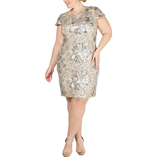 Calvin Klein Womens Plus Sequined Cowl Neck Sheath Dress Beige 16W