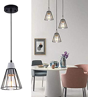 LBTSMUK Black Pendant Lighting, Mini Cone Cage Pendant Light with Metal Shade Modern Concrete Pendant Hanging Light Fixture for Cafe Loft Counter Dining Room Bar Spiral Staircase