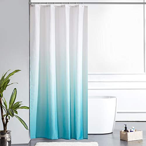 Furlinic Duschvorhang Textil Anti-schimmel Wasserdicht Waschbar Badvorhang aus Polyester Stoff Weiß nach Aquamarine Schmal 120x200cm mit 8 Duschvorhangringen.