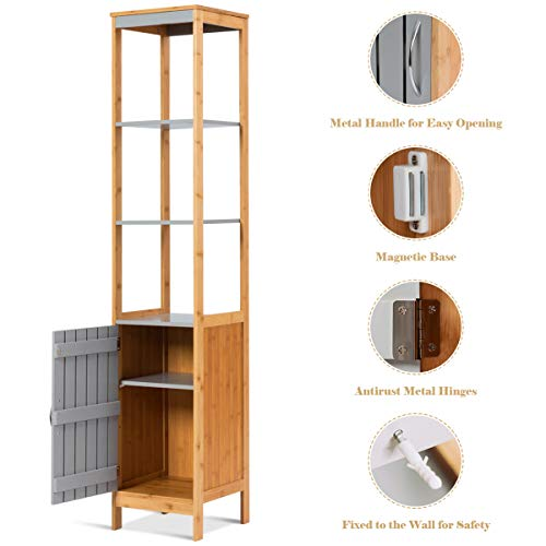 Tangkula Bathroom Floor Cabinet, Bamboo 5-Tier Concise Storage Organizer Unit Free Standing Single Door and Adjustable Shelf Living Room Bedroom, Gray and Natural (12