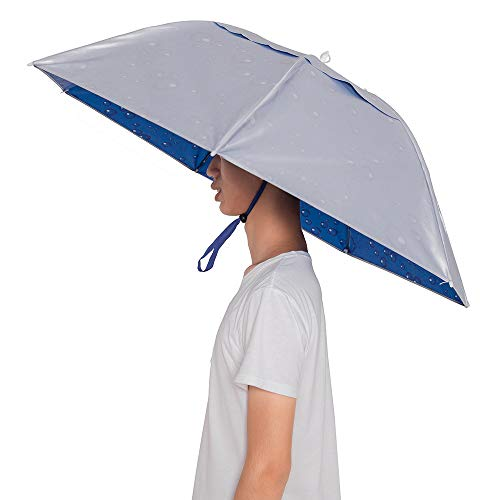 Umbrella Hat with ighten Clip Head Wear for Fishing Gardening Outdoor Hiking(Silver)(Blue with...