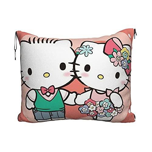 Hello Kitty - Manta de viaje con diseño de dibujos animados, 2 en 1, para viajes