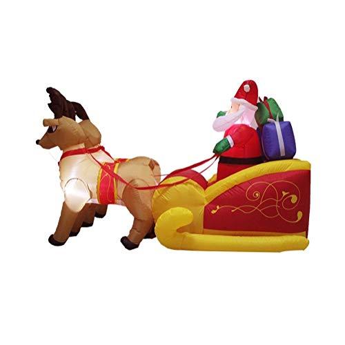 WFTD Outdoor Babbo Natale Gonfiabile Blow Up, Renne Modello di Slitta Grande 6.9 Ft Giardino Decorazione di Natale, Built-in LED Luci