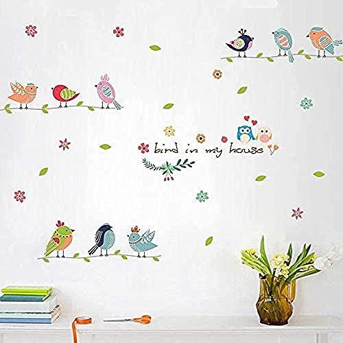 Pegatinas de la pared de la flor de las pájaros para la habitación de los niños Decoración de la decoración de la decoración del hogar Decoración del hogar Decoración extraíble Cartel artístico
