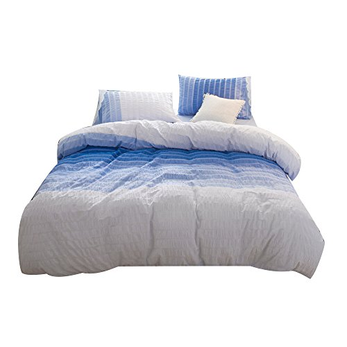 Umi. Essentials 100% cotton woven Seersucker Stripe Duvet Cover-Double