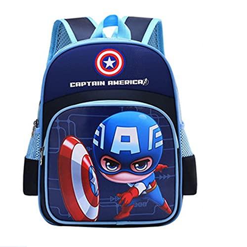 Xyh723 Mochila para Niños Capitán América Mochila Escolar Superhéroe Personaje Viajes Vacaciones Cartera Adolescentes Impresión 3D Dibujos Animados,Blue-One Size