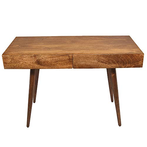 The Urban Port Mango Wood Writing Desk with Two Drawers and Tapered Legs, Brown,
