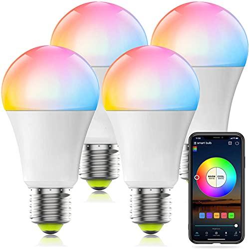 Smart RGBCW WiFi Lampe, Kompatibel mit Alexa, Google Home und Siri, APP Steurung, Wecker, Fernbedienung Arbeiten, 20 Dynamische Modi