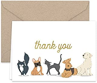 Paper Frenzy Dog and Cat Thank You Note Cards and Kraft Envelopes -- 25 pack