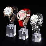 2020 YXWEI High -Low Acrylic Watch Display Soporte Soporte Soporte Reloj Organizador Joyería Soportes Estuche de joyería Cristal (Color : Clear, Size : One Set with 3 pcs)