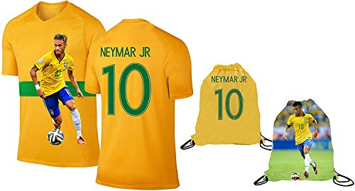 Neymar Jersey Style T-shirt Kids Neymar Jr Jersey Brazil T-shirt Gift Set Youth Sizes ✓ Premium Quality ✓ ✓ Soccer Backpack Gift Packaging (YS 6-8 Years Old, Neymar)