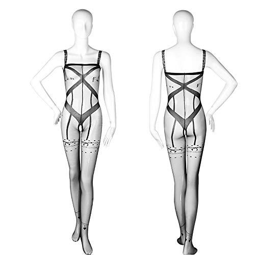 XIEWEICHAO Lencería sexy Lencería sexy para mujer Perspectiva inglesa Vestir Medias abiertas Traje de pasión (Color : Black)