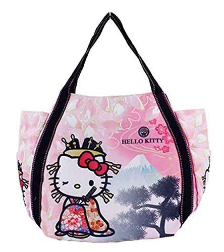 Bly Sanrio Hello Kitty Tragetasche, Handtasche für Mädchen und Kinder, traditionelles japanisches Muster, Kimono & Mt.Fuji, Japan Import 4026