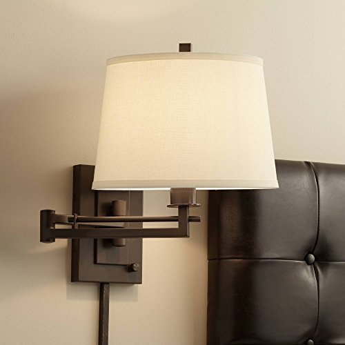 Easley Swing Arm Wall Light Plug-in Bronze Sconce Fabric Drum Shade for Bedroom Living Room Reading - Franklin Iron Works