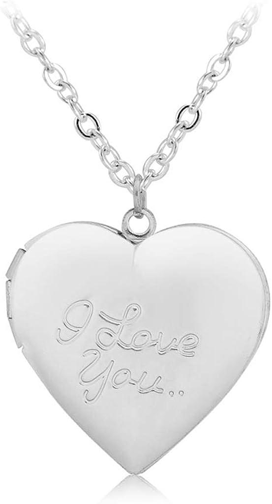 YEZININHAO Customized Heart-Shape I Love You Engraved Locket Necklace DIY Photo Box Jewelry -XL1040