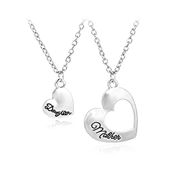 Gift for Daughter Mom Matching Heart Pendant Jewelry Mother Daughter Necklace Mothers Day Gifts for Mom Birthday Gifts