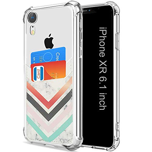 Wallet Slim Case Compatible for iPhone XR with Card Holder Ultra Thin Protective Soft TPU Shockproof Clear Case with PU Leather Card Sleeves for iPhone XR 6.1 Inch (2018) (Chevron Marble)