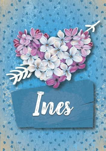 Ines: Cuaderno de notas A5 | Nombre personalizado Ines | Regalo de cumpleaños para la esposa, mamá, hermana, hija .. | Diseño: Lilas corazon | 120 páginas rayadas, formato A5 (14.8 x 21 cm)