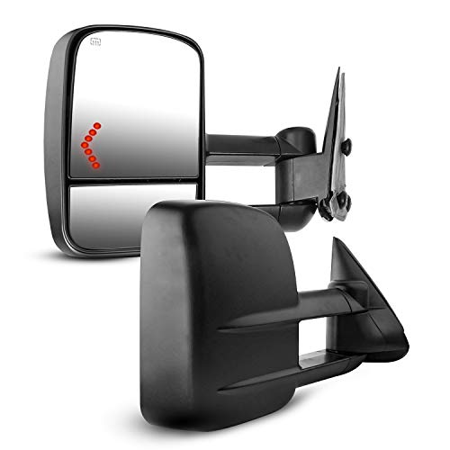 Towing Mirrors for Chevy Silverado, AAIWA Side Mirror for GMC Sierra, Power Heated Tow Mirrors with Arrow Signal Light for 2003-2007 GMC Sierra Silverado, 2 PCS