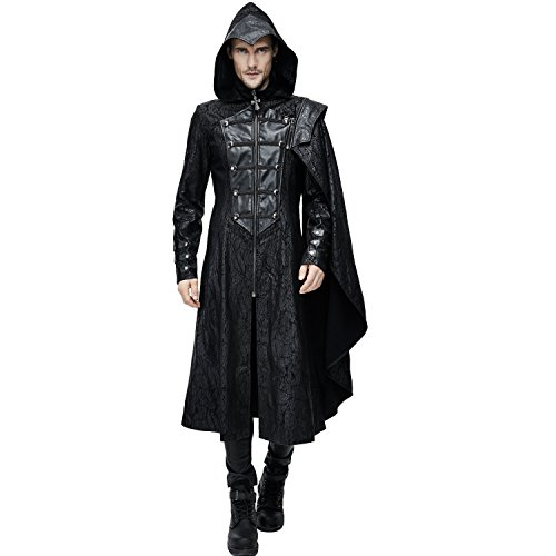 Devil Fashion Assassin's Creed Black Leather Gothic Military Cloak Coat for Men (XXX-Large)