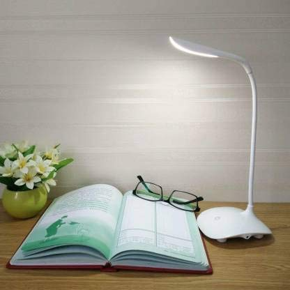 RUCON® Desk Study lamp Rechargeable Led Touch On Off Switch Student Study Reading Dimmer Led Table Lamps White Desk Light lamp