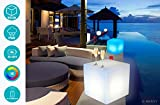 Cube LED Pouf Table Basse Tabouret Lumineux Multicolore + Télécommande/Interieur -...