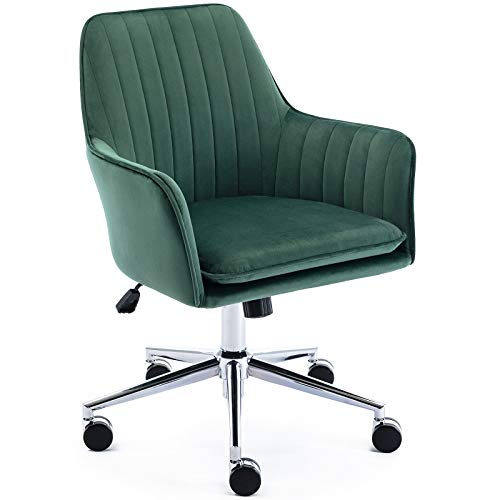 Jacky Home Velvet Office Desk Chair with Mid-Back, Modern Height Adjustable 360° Swivel Upholstered Computer Task Chair with Arms and Wheels for Study Room Living Room Bedroom (Green)