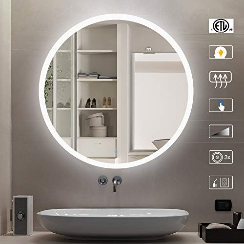 CITYMODA Bathroom Mirror with Lights,Modern Wall Mounted Makeup Mirror Round Frameless Fogless Bathroom Mirror,24 Inch Smart Vanity Mirror