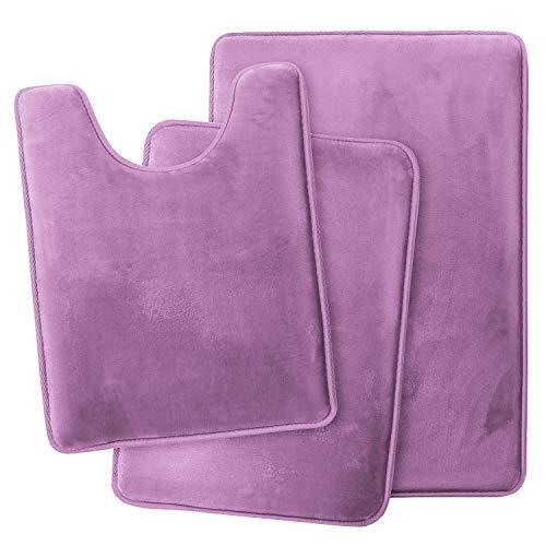 Clara Clark Memory Foam Bath Mat Ultra Soft Non Slip and Absorbent Bathroom Rug, Set of 3 - Small/Large/Contour - Lavender Dream