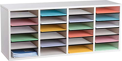 AdirOffice Wooden Literature Organizer Sorter - Stackable Mail Craft Paper Storage Holder with Removable Shelves for Office, Classrooms, and Mailrooms Organization (24 Compartment, White)
