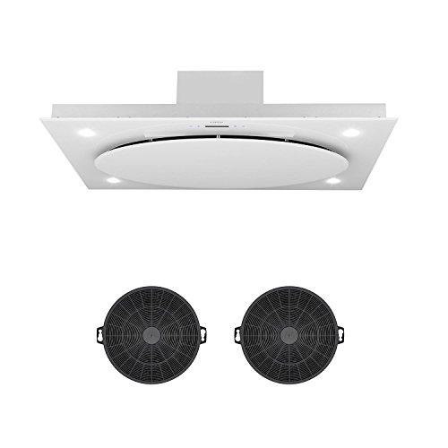 Klarstein Secret Service Set - Campana extractora de techo y 2 filtros de carbón, Encastrable, Potencia 220 W, Capacidad extracción 800 m³/h, Control Touch Cristal, Iluminación LED, 3 Niveles, Blanco