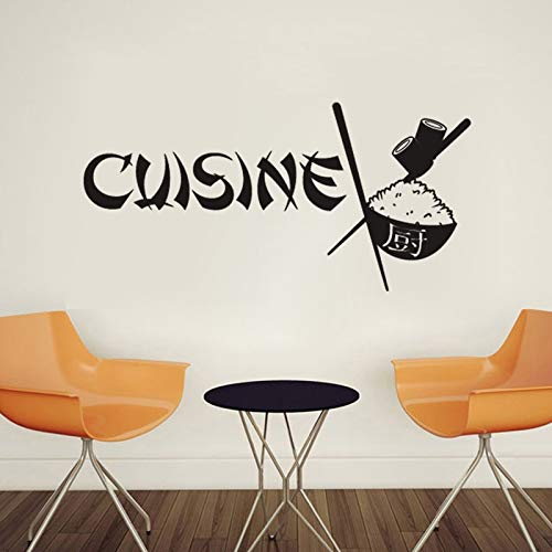 Pegatinas de pared, calcomanía de arte de fuente francesa china, pegatinas de vinilo extraíbles para cocina de restaurante, decoración del hogar DIY, Wallpapercm impermeable