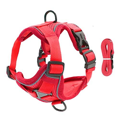 Arnés para perros Pet Reflective Nylon Dog Harness No Pull Adjustable Medium Large Naughty Dog Vest Safety Vehicular Lead Walking Running Arnés para gatos (Color : Red, Size : Large)