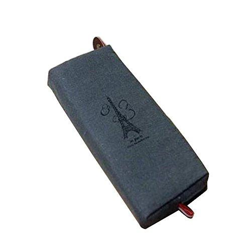 Nouveau rétro Toile crayon Pen Case Cosmétique Maquillage pièce de monnaie Pochette Sac à fermeture Éclair Sac à main Taille unique gris