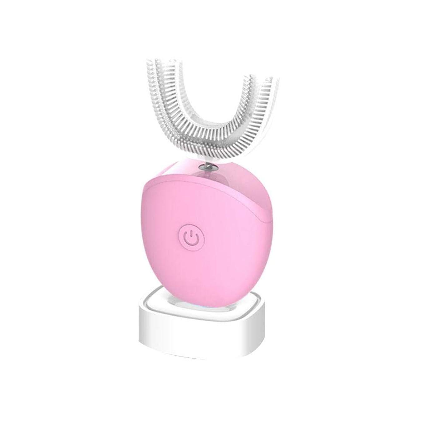 高音モバイルスキッパー360°超音波電動歯ブラシ、ブラシを白くする防水USBの再充電可能なU字型自動スマートな音波の歯