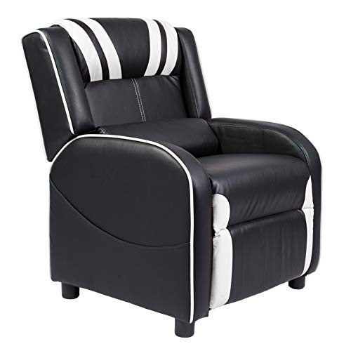 Marabell Home Julius Kids/Youth Faux Leather Gaming Recliner Chair (Black/White)
