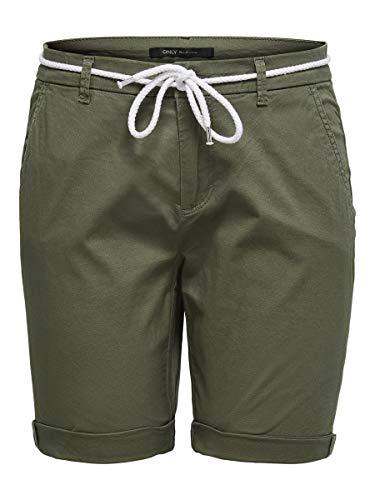 ONLY Damen ONLPARIS REG Long Belt Chino PNT Shorts, Kalamata, 40