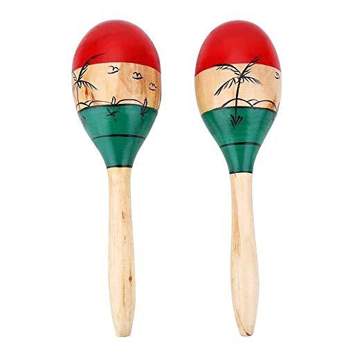 1 Paar große natürliche handbemalte hölzerne Maracas Rumba Shaker Rasseln Sand Hammer Percussion Instrument Musikspielzeug für Kinder Kinder Party Spiele