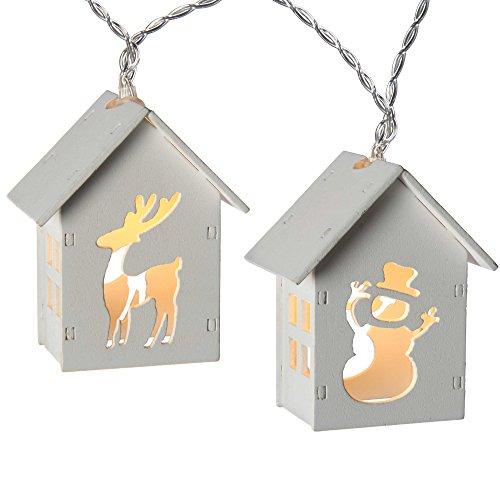WeRChristmas Rentier und Schneemann Holz Haus Lichterkette mit 10LED–Warm Weiß