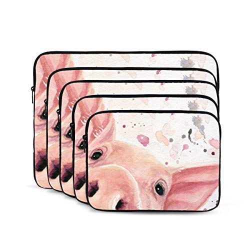 Watercolor Pig Laptop Sleeve 13 inch, Shock Resistant Notebook Briefcase, Computer Protective Bag, Tablet Carrying Case for MacBook Pro/MacBook Air/Asus/Dell/Lenovo/Hp/Samsung/Sony