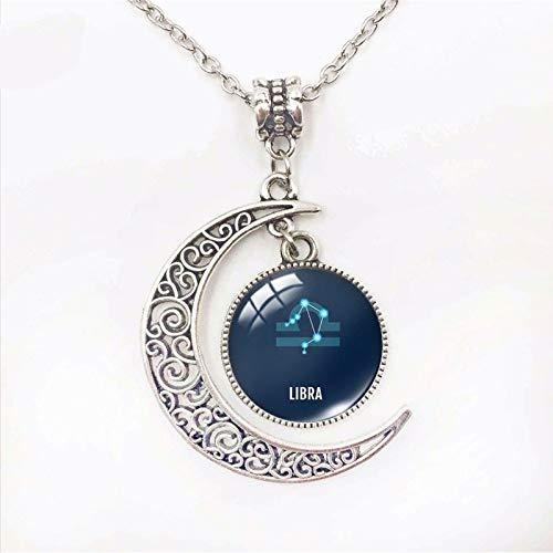 Collar Constelación,Piscis Zodiac Colgante Collar con Cadena Luna Forma Azul Piedra Colgante 12 Constelación Horóscopo Dainty Collares Regalo De Cumpleaños para Las Mujeres Niñas