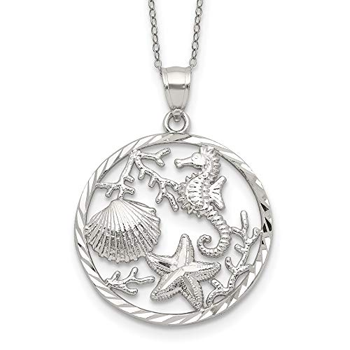 925 Sterling Silver Seahorse Starfish Sea Shell Mermaid Nautical Jewelry Pendant Charm Necklace Fish Life Fine Jewelry For Women Gifts For Her