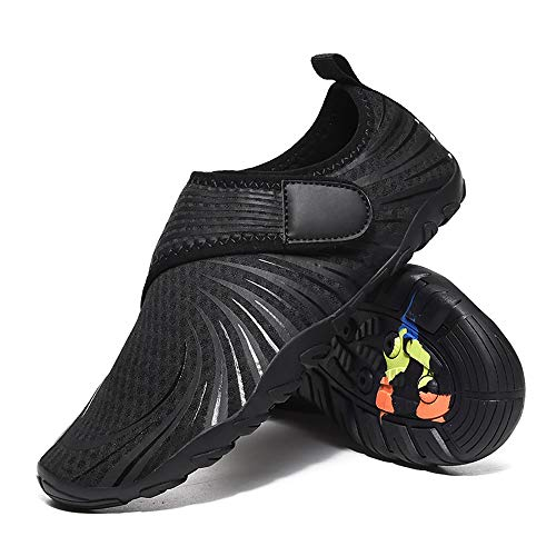 EVFIT Zapatos de Verano Al Aire Libre Antideslizante Secado Rápido Stream Zapatos De Los Hombres Que Vadea Surf Snorkel Playa Zapatos Calzado (Color : Black, Size : 41)