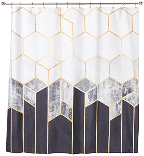 """Society6 69785-shocur Elisabeth Fredriksson Charcoal Hexagons Shower Curtain, 72"""" x 69"""", Black and White"""