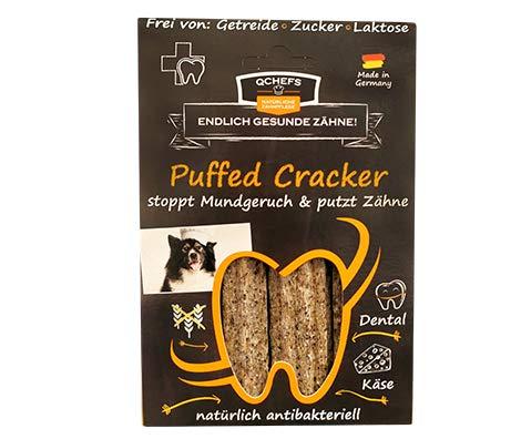 QCHEFS Puffed Cracker| chien combattants de plaque | pas de gluten | dentaire allergiques | contre le tartre | fromage blanc