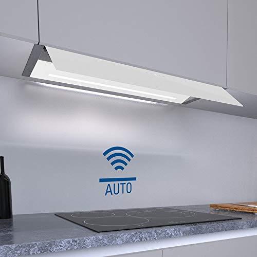Allcata TENDA 90 XGWH A+ Einbau Dunstabzugshaube 90 cm weiß Glas Touch Control ECO LED 6 Stufen Extra leiser Motor 1200 m³/h (freier Auslass) / 46 dB für Abluft und Umluft