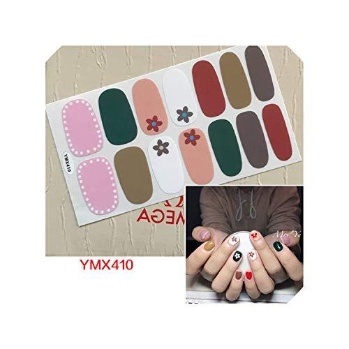 14Tips / Blatt-Nagel-Verpackungs-Aufkleber YMX411 Korea Blume Designs Adhesive polnische Folien 3D-Aufkleber-Nagel-Kunst-Dekoration, YMX410